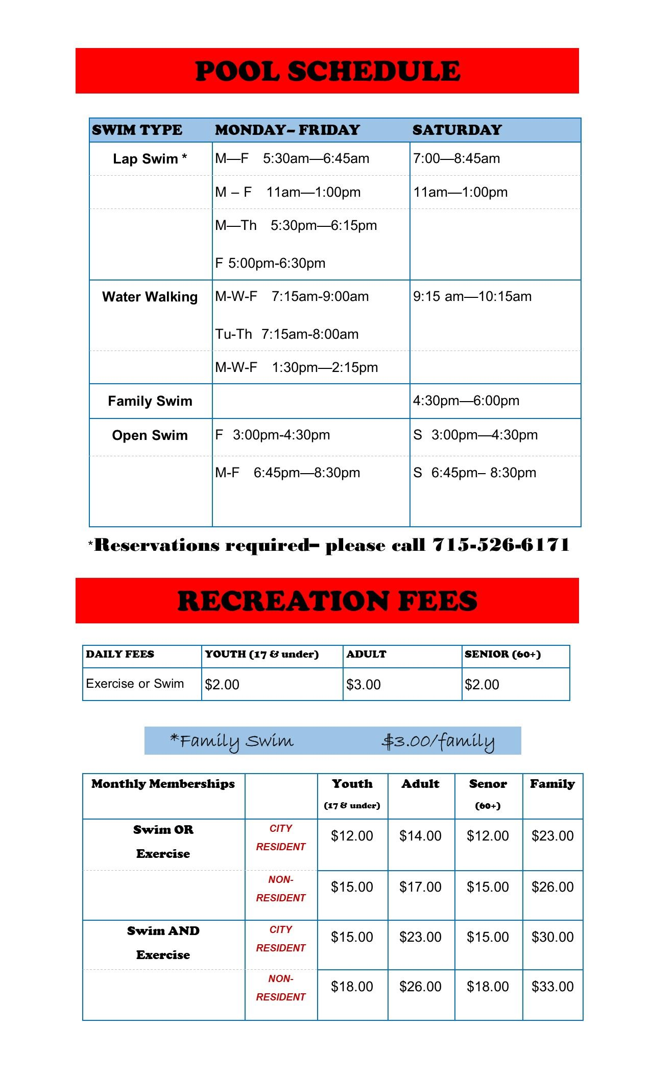 schedule and fees